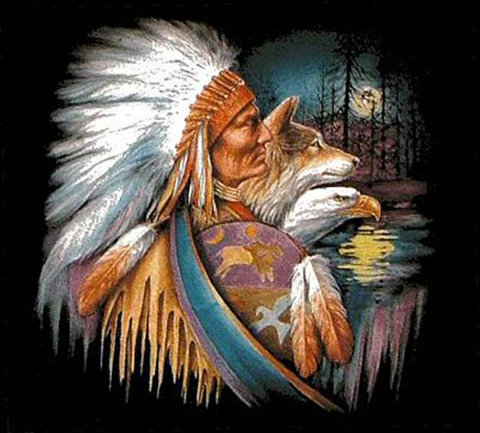 CRAFTS Native American WoLf EagLe Cross Stitch Pattern***LOOK***