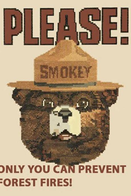 Unique Hand Made pdf Sewing Home Patterns Dmc Hand Made Crafts Smokey The Bear Cross Stitch Pattern***LOOK***