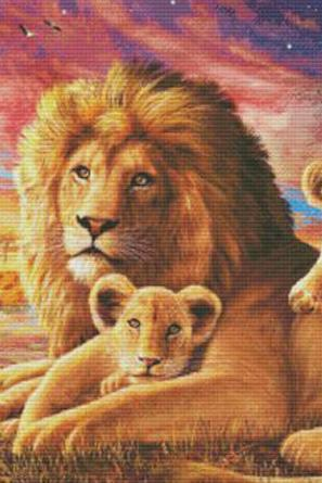 Lion & Cubs Cross Stitch Pattern***LOOK***