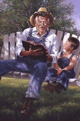 CRAFTS Grandpa Reading The Bible Cross Stitch Pattern***LOOK***