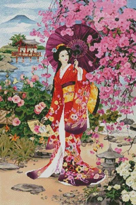 CRAFTS Japanese Garden Beauty Cross Stitch Pattern***LOOK***