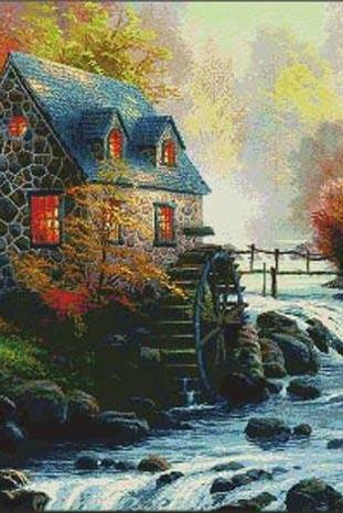 CRAFTS Kinkade Cobblestone Mill Cross Stitch Pattern***LOOK***Buyers Can Download Your Pattern As Soon As They Complete The Purchase