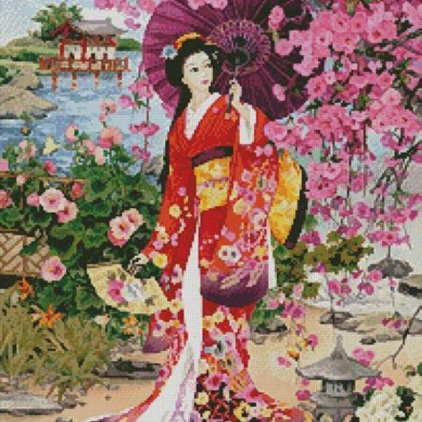 Unique Hand Made pdf Sewing Home Patterns Dmc Hand Made Crafts Japanese Garden Beauty Cross Stitch Pattern***LOOK***