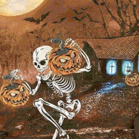CRAFTS Skeleton Jack O Lantern Cross Stitch Pattern***LOOK**$4.95