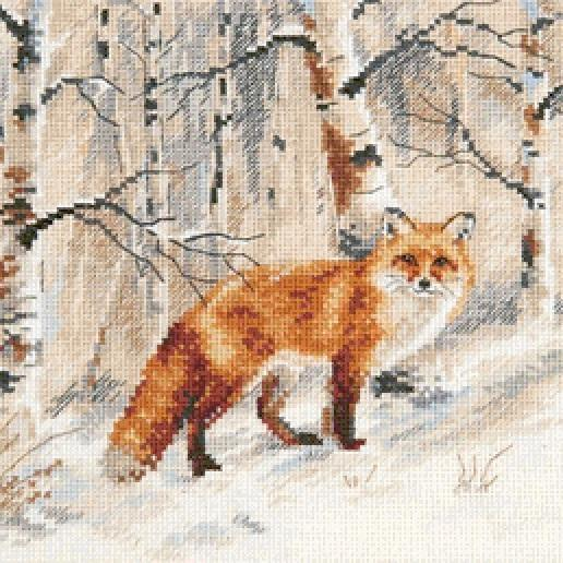 CRAFTS Winter Day Fox Cross Stitch Pattern***LOOK**$4.95